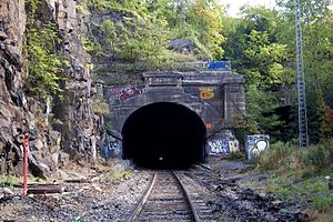 "Long Dock Tunnel - Western portal above which is ""Erie"", the name of the railroad that owned the tunnel. To the south was the 1910 Erie Cut which traveled under the Bergen Arches."
