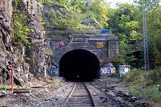 """Long Dock Tunnel - Western portal above which is """"Erie"""", the name of the railroad that owned the tunnel. To the south was the 1910 Erie Cut which traveled under the Bergen Arches."""