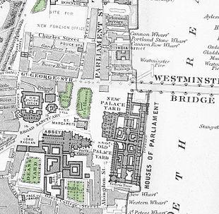 La mappa di Westminster nel 1862