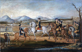 Whiskey Rebellion - George Washington reviews the troops near Fort Cumberland, Maryland, before their march to suppress the Whiskey Rebellion in western Pennsylvania.