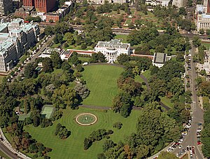 West Executive Avenue - West Executive Avenue, pictured on the left side of this 1984 aerial photograph, sits between the White House and the Eisenhower Building.