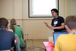 Sumana teaching a Git workshop at Wikimedia hackathon in Amsterdam, 2013, by Sebastiaan ter Burg from Utrecht, The Netherlands (Wikimedia Hackathon 2013, Amsterdam) [CC-BY-2.0 (http://creativecommons.org/licenses/by/2.0)], via Wikimedia Commons