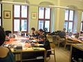 Wikipedianer im Lesesaal der Oberlausitzischen Bibliothek der Wissenschaften im Rahmen der Schreibwerkstatt.JPG