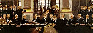 Paris Peace Conference, 1919 - Johannes Bell of Germany is portrayed signing the peace treaties on 28 June 1919 in The Signing of Peace in the Hall of Mirrors by Sir William Orpen.