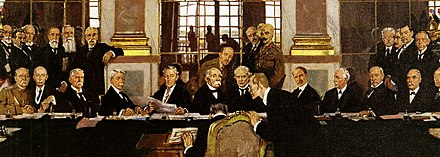 German Johannes Bell signs the Treaty of Versailles in the Hall of Mirrors, with various Allied delegations sitting and standing in front of him. William Orpen - The Signing of Peace in the Hall of Mirrors, Versailles 1919, Ausschnitt.jpg