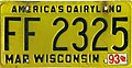 Wisconsin 1993 license plate - FF 2325.jpg