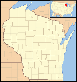 Council Grounds State Park - Image: Wisconsin Locator Map with US