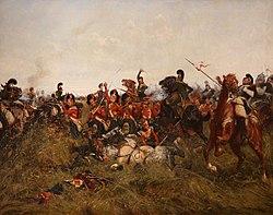 William Barnes Wollen: The Black Watch at Bay, Quatre Bras. Das Gemälde zeigt einen Angriff französischer Kavallerie auf ein schlecht gebildetes Carré der Schotten bei Quatre-Bras. (Quelle: Wikimedia)