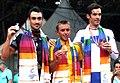 XIX Commonwealth Games-2010 Delhi Winners of (Men's Road Race) Allan Davis of Australia (Gold), Hayden Roulston of New Zealand (Silver) and David Millar of Scotland (Bronze).jpg