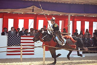 Meiji Shrine - In November 2001, Yabusame demonstrated for the president George W. Bush at Meiji Jingu shrine.