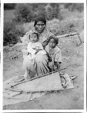Yokut Indian wife and children of the chief at the Tule River Reservation, near Porterville, California, ca.1900 (CHS-3804).jpg