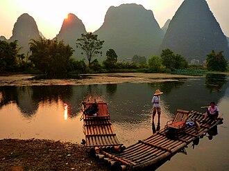 Yulong River - Bamboo rafts on the Yulong River