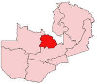 Map of Zambia showing the Copperbelt Province