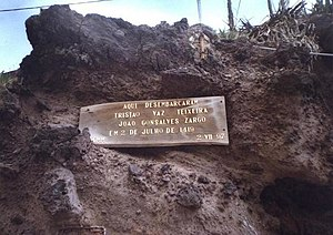 Machico, Madeira - A commemorative plaque marking the place where the first explorers disembarked on Madeira