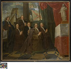 Zes leden van het Brugse schippergilde voor hun patroonheilige Clemens