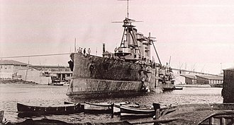 "Greek cruiser Georgios Averof - ""Averof"" fitting out Summer 1910 Orlando yard Livorno, Italy"