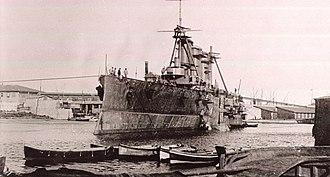 "Greek cruiser Georgios Averof - ""Averof"" fitting out Summer 1910 Orlando yard Livorno, Italy"