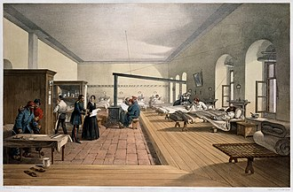 Selimiye Barracks - Image: 'One of the wards in the hospital at Scutari'. Wellcome M0007724 restoration, cropped