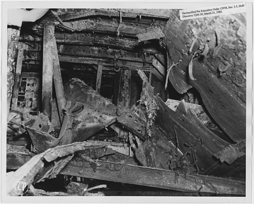 (USS) Cal. Bomb Damage, 2nd deck stbd (starboard) side - NARA - 296950