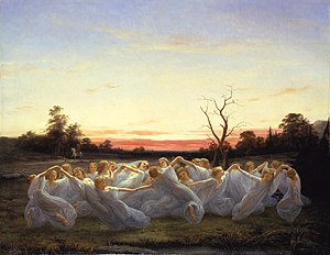 "Scandinavian folklore - Ängsälvor, ""meadow elves"", (1850), painting by Nils Blommér"