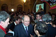 Philippe Duron après l'annonce des résultats des élections municipales en 2008