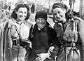 Članici kulturniške skupine XIV, divizije Marta Paulin-Brina in Vera Hreščak z Ivano Ožbolt, Špelkino 1943.jpg