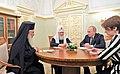 Встреча Владимира Путина с Патриархом Московским и всея Руси Кириллом и Патриархом Иерусалимским и всея Палестины Феофилом III.jpg