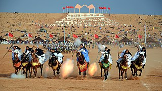 traditional exhibition of horsemanship in the Maghreb performed during cultural festivals