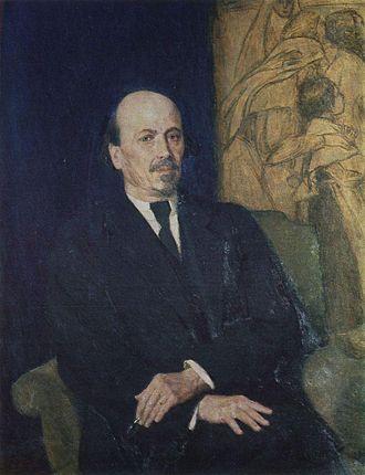 Mikhail Nesterov - Portrait by Viktor Vasnetsov (1926)