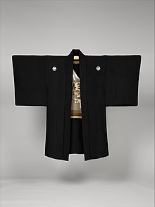 黒平絹地富士図羽織 男物-Man's Formal Jacket (Haori) MET DP330781.jpg