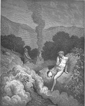 Gustave Doré's illustrations for La Grande Bible de Tours - Image: 004.Cain and Abel Offer Their Sacrifices