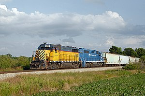 Great Lakes Central Railroad - A GLC GP35 heads north out of Alma; July 20, 2009