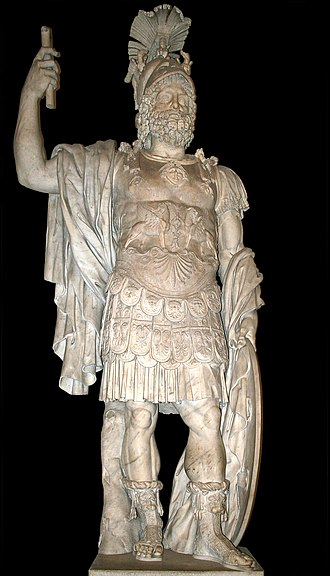 Mars (mythology) - The Statue of Mars from the Forum of Nerva, 2nd century AD, based on an Augustan-era original that in turn used a Hellenistic Greek model of the 4th century BC. Capitoline Museums in Rome, Italy.