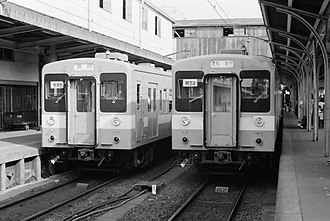 119 series - Two 119 series sets at Toyohashi Station in June 1983