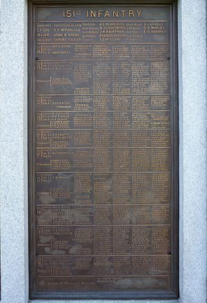 151st Pennsylvania Infantry - The tablet of the 151st Pennsylvania on the base of the Pennsylvania Memorial, Gettysburg, PA