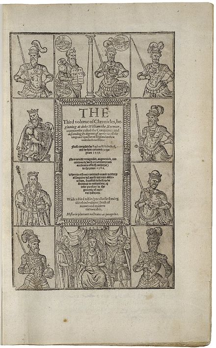 The 1587 edition of Holinshed's Chronicles 1587 printing of Holinshed's Chronicles.jpg