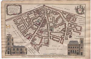 Aldgate - Cole's 1755 map of Aldgate ward (note east is to top of page)
