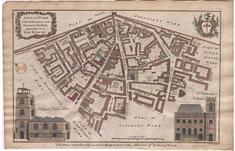 Wards of the City of London - A 1755 map of Aldgate, showing its precincts (six numbered and one named).