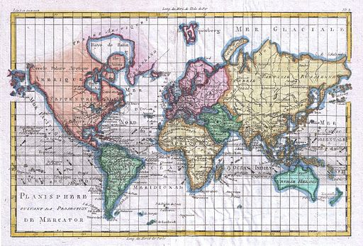 1780 Raynal and Bonne Map of the World - Geographicus - Planisphere-bonne-1780