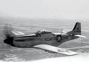 "North Dakota Air National Guard - North Dakota F-51D Mustang, about 1947, note the ""ND"" (National Guard) fuselage designation, dating the photo prior to the official establishment of the Air National Guard in September."