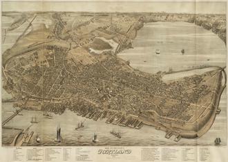 "Timeline of Portland, Maine - ""Bird's Eye View of the City of Portland,"" 1876"