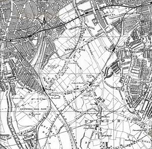 Herne Hill - 1888 map showing Herne Hill, bounded by Champion Hill to the north, Knight's Hill to the South, Brixton to the West and Dulwich to the East