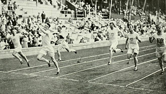 Athletics at the 1912 Summer Olympics – Men's 200 metres - The finish of the final.
