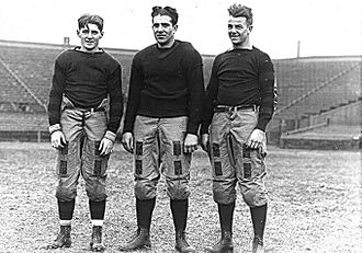 Bert Bell - Bell (left) with Penn teammates Ben Derr (center) and Joe Berry in 1916.