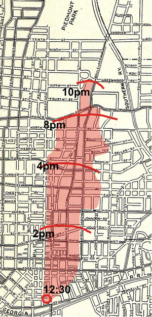 Great Atlanta fire of 1917 - Extent of the fire