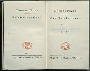 1924 Thomas Mann Zauberberg Titelblatt