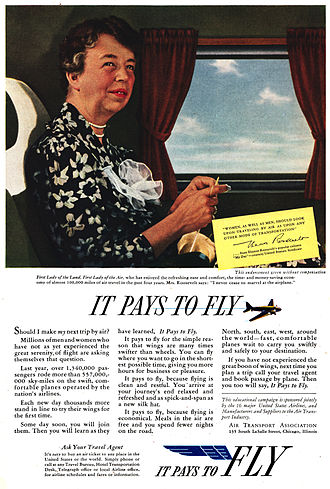 Airlines for America - 1939 Air Transport Association advertisement with Eleanor Roosevelt promoting commercial air transportation in the US