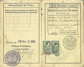 Kindertransport - 1939 visa issued to a Jewish woman who was accompanying a Kindertransport from Danzig to the UK.