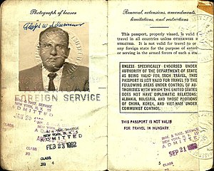 Al Schwimmer - 1958 passport issued to Al Schwimmer which he used on his official trips as head of the IAI.