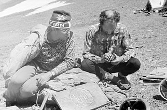 Rubik's Cube - Mountaineer solving Rubik's Cube during 1982 expedition in Pamir Mountains to peak Tartu Ülikool 350